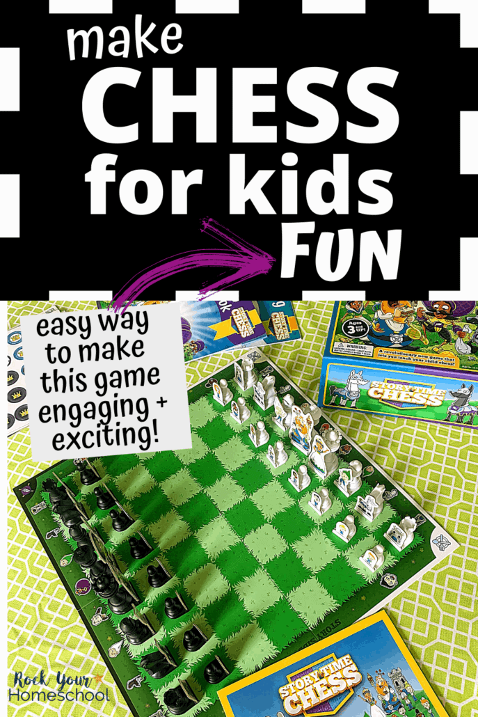 Story Time Chess game board & story book to feature the creative ways you can easily make chess for kids fun & exciting