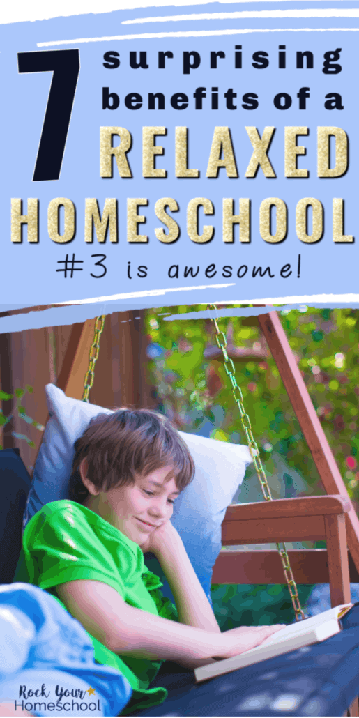 Smiling boy laying on bench swing as he reads to feature the surprising benefits of a relaxed homeschool style