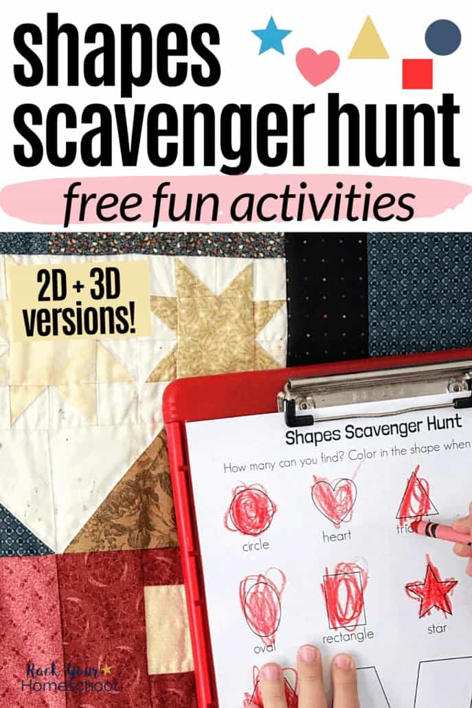 Boy using red crayon to fill in 2D shapes scavenger hunt printable on red clipboard with quilt in background to feature the simple math fun your kids can have with these free scavenger hunt printables for 2D and 3D shapes