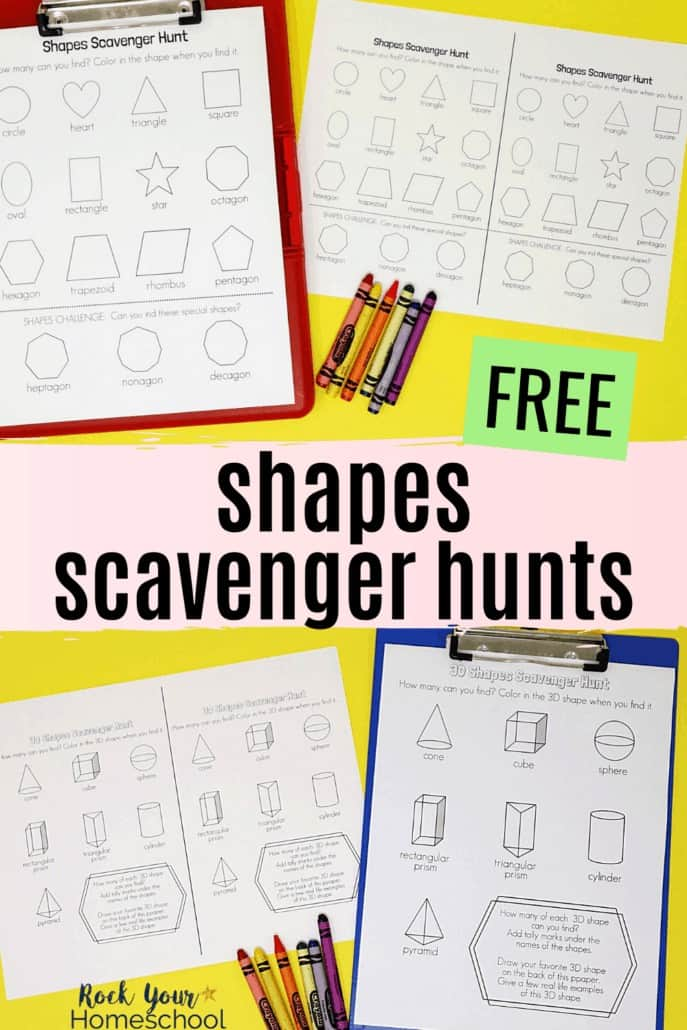 Shapes scavenger hunt printables with 2D and 3D shapes on clipboards with crayons to feature the simple math fun & more your kids will have with these free scavenger hunt printables