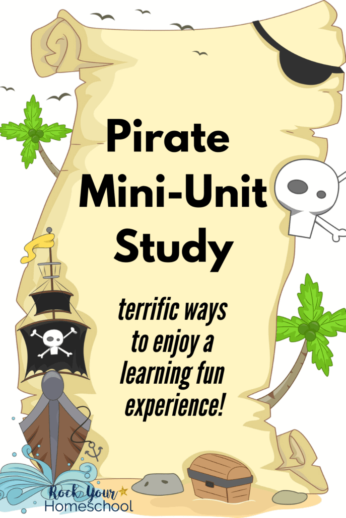 Cute clip art of pirate ship, map, skull, & more to feature how you can use this simple pirate mini-unit study for interest-led learning & to celebrate Talk Like a Pirate Day