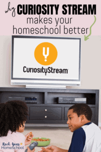 Sister & brother laying on floor with television in background to feature why Curiosity Stream can help you make your homeschool better with its documentaries & educational videos