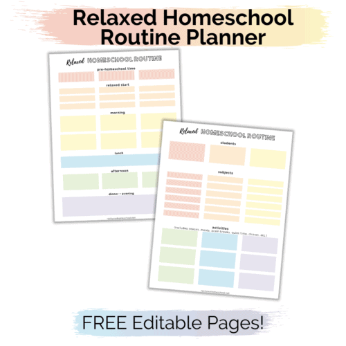 This Relaxed Homeschool Routine Planner will help you organize & set up a routine in your relaxed homechool.