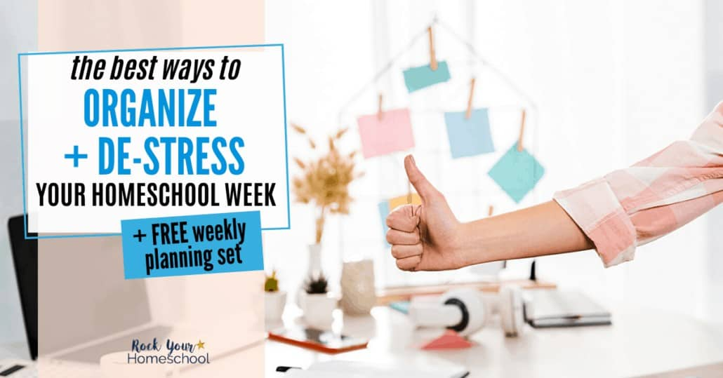 Stop feeling like you're spinning in circles in your homeschool! Check out these terrific tips & ideas for organizing & de-stressing your homeschool week. Includes free weekly planning set!