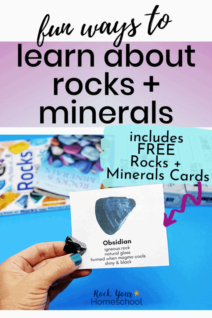 Woman holding obsidian card to feature the fun & creative ways to use these rocks and minerals cards