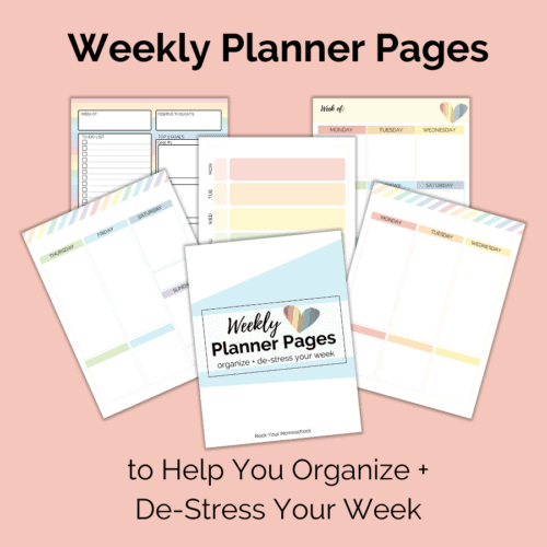 This free weekly planners pages set can help you organize & de-stress your homeschool week.