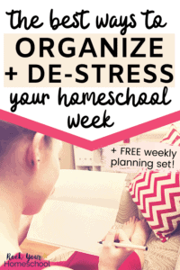Woman relaxing on couch with red chevron pillow & organized bookshelf in background to feature the best ways to organize & de-stress your homeschool week with these tips, ideas, & weekly planning pages