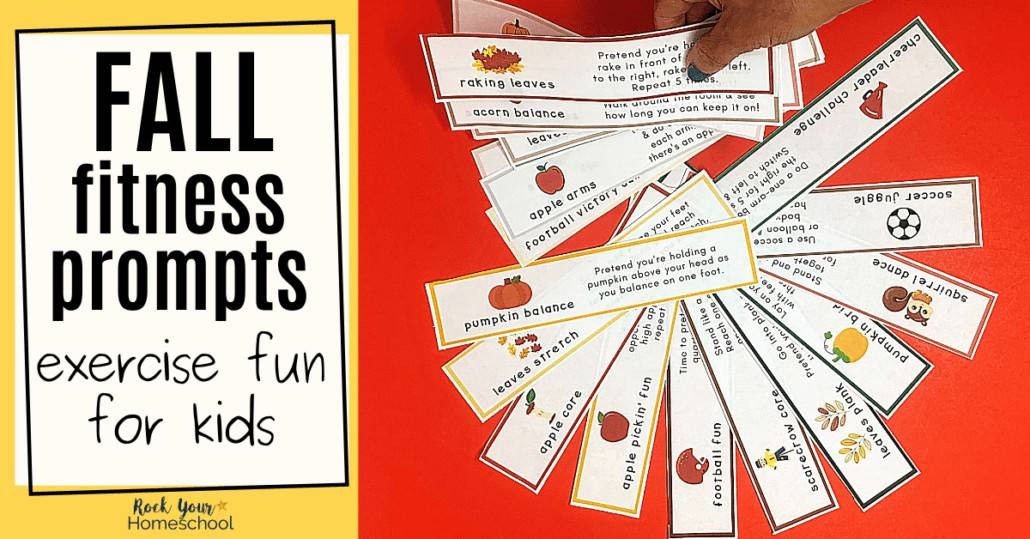 Woman holding Fall fitness prompts with others on red background to feature how you can use these 24 free Fall fitness prompts for fun exercises for kids