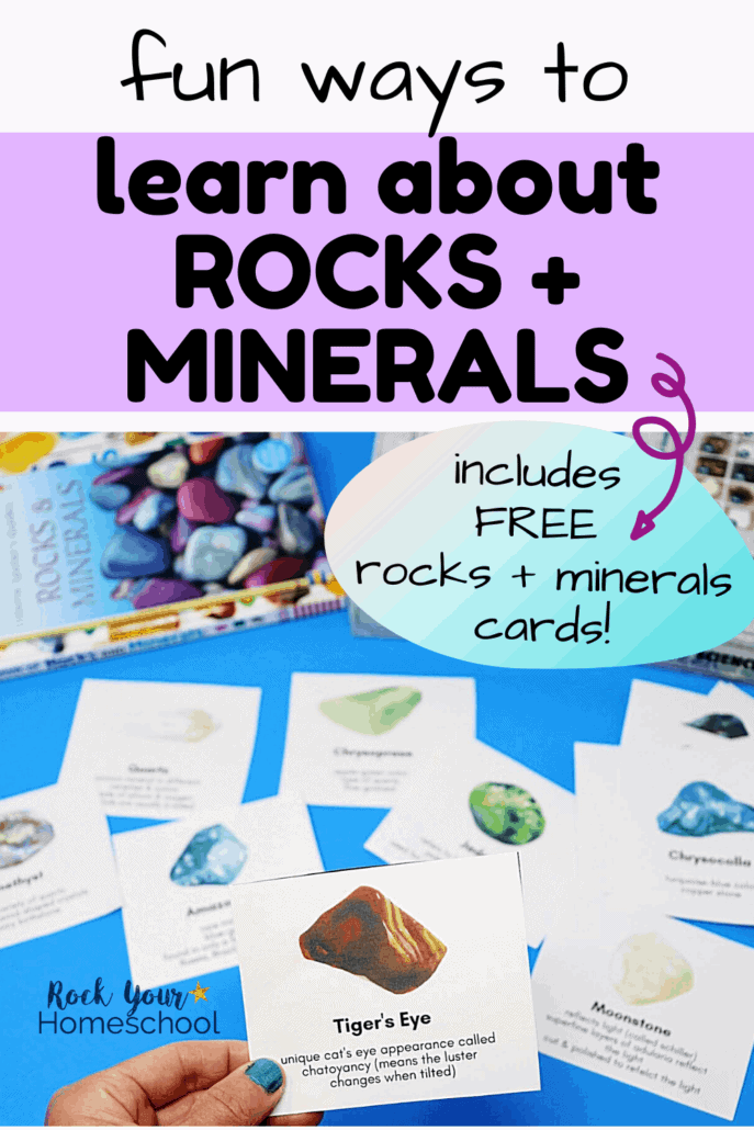 Woman holding tiger's eye card to feature the fun & creative ways you can learn with these free rocks and minerals cards