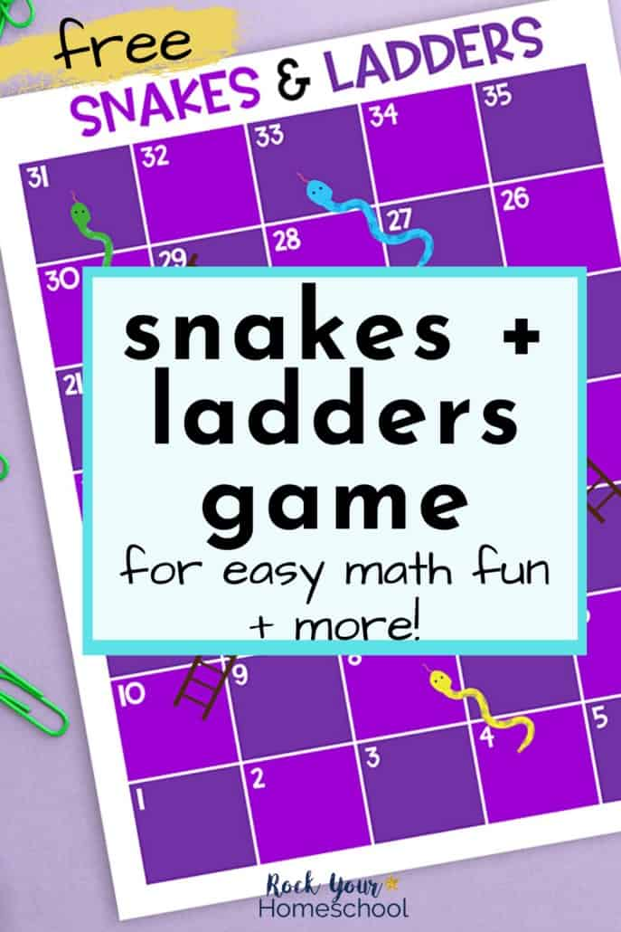 Snakes and Ladders Game is a frugal & simple way to make math fun for kids.