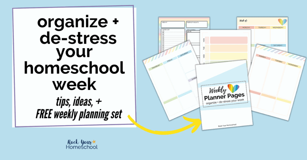 You can use this free weekly planning set + tips & ideas to organize & de-stress your homeschool week.