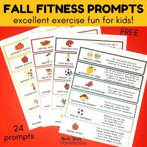 These 24 free Fall fitness prompts are fantastic ways for kids to enjoy fun exercises with seasonal themes.