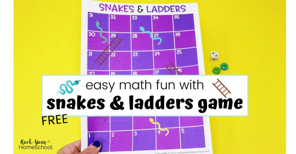 This free Snakes and Ladders game is such a simple way to enjoy math fun & more with your kids.
