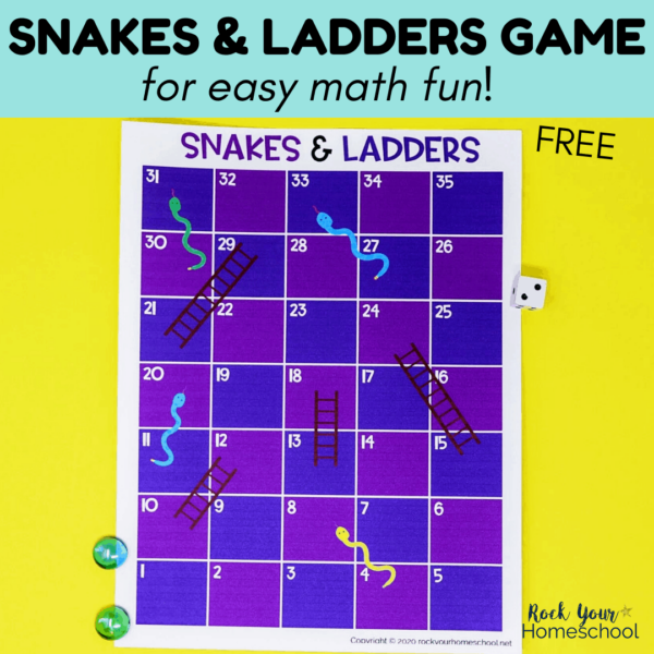 Enjoy easy math fun for kids with this free Snakes and Ladders Game.