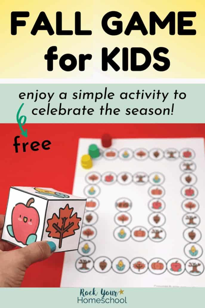 Woman holding custom die for Fall Game for Kids to feature how you can enjoy this simple activity for seasonal fun
