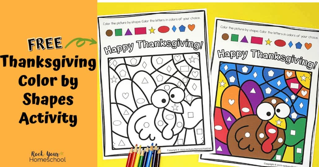 Enjoy a simple yet super fun activity with your kids this holiday using this free Thanksgiving Color By Shapes printable.