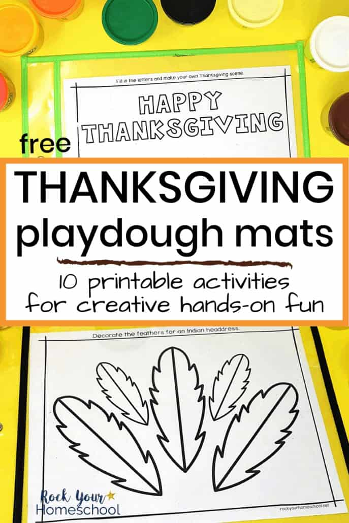 Happy Thanksgiving & feathers playdough mats with playdough containers to feature the excellent hands-on holiday fun your kids will have with these Thanksgiving playdough mats with creative prompts