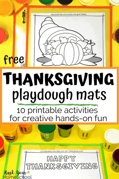 Playdough mats featuring cornucopia & Happy Thanksgiving with playdough containers to highlight the amazing creative, hands-on fun your kids will have this holiday with these 10 free Thanksgiving playdough mats