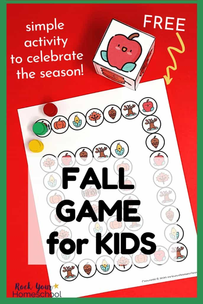 This Fall game for kids includes free printable game board & custom die so you can enjoy a simple activity for seasonal fun with kids.