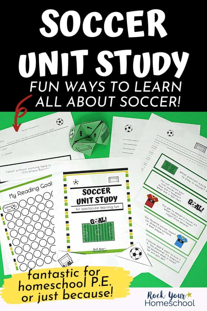 Soccer unit study bundle to feature how this resource can help you boost your homeschool P.E. or learn about this amazing sport just because