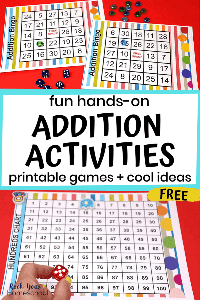 Addition bingo cards with markers & dice and woman holding red dice with colorful hundreds chart to feature these awesome hands-on addition activities your kids will love