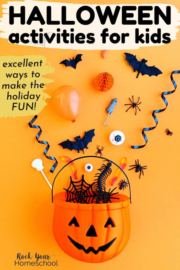 Plastic jack o' lantern bucket with candy, Halloween toys, paper bats, balloons, & more to feature how this epic list of Halloween activities for kids can help you enjoy a special celebration