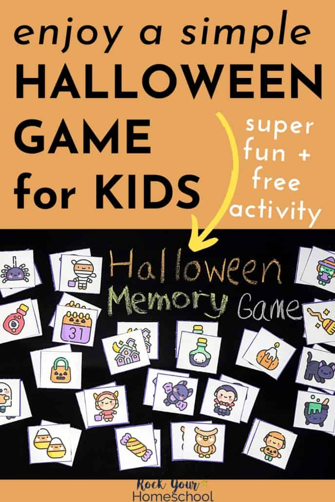 Halloween memory game cards on black chalkboard to feature how you can enjoy a simple yet super fun activity for Halloween fun with kids