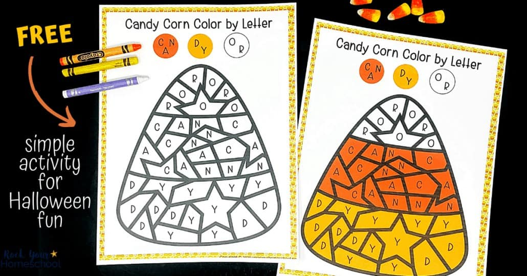 This free Candy Corn Color by Letter is a super simple yet fun Halloween activity for your kids.