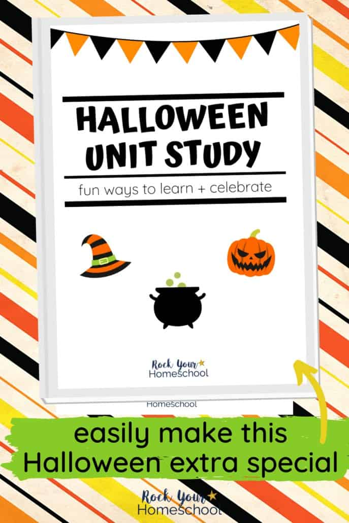 Halloween unit study cover with orange, black, yellow, & white stripes to feature the excellent learning fun you'll have with this special Halloween unit study