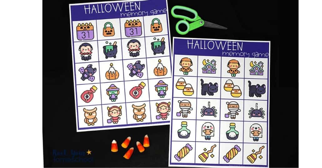 Your kids will have a blast with this free printable Halloween memory game.