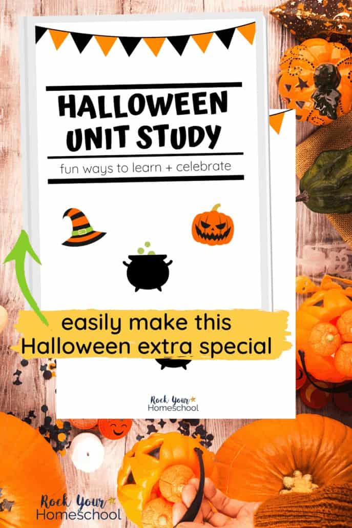 Halloween Unit Study cover with child holding pumpkin & other Halloween figures in picture to feature the excellent learning fun you'll have with this Halloween study for kids