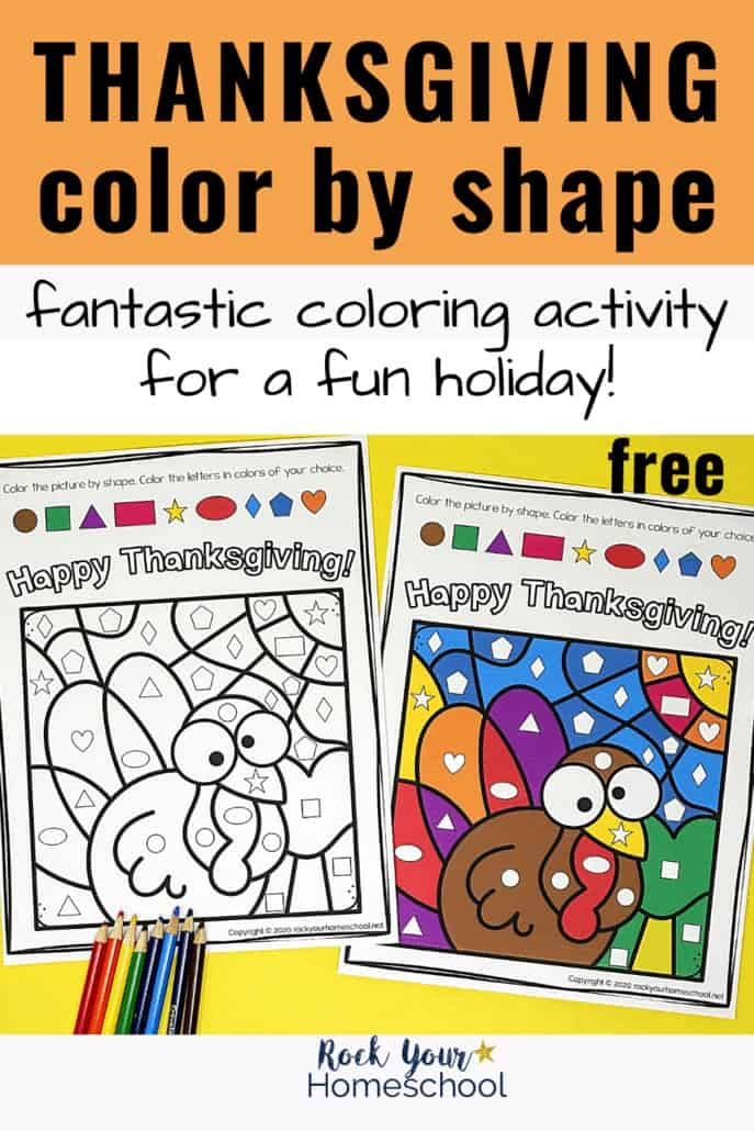 Thanksgiving Color By Shapes activity featuring a cute turkey with crayons to feature the terrific fun kids will have with this free printable holiday activity