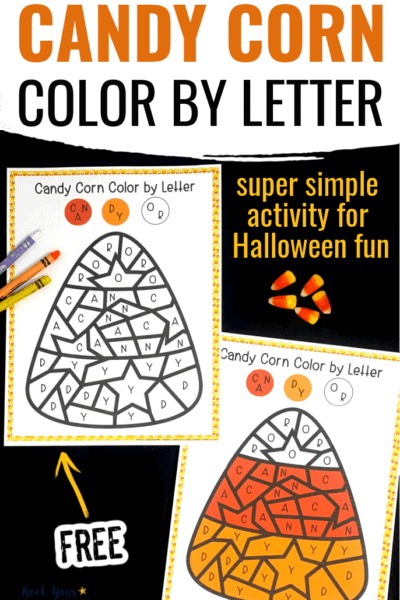 Candy corn color by letter page and answer sheet with crayons & candy corn to feature the simple Halloween fun you can have with this free printable coloring activity