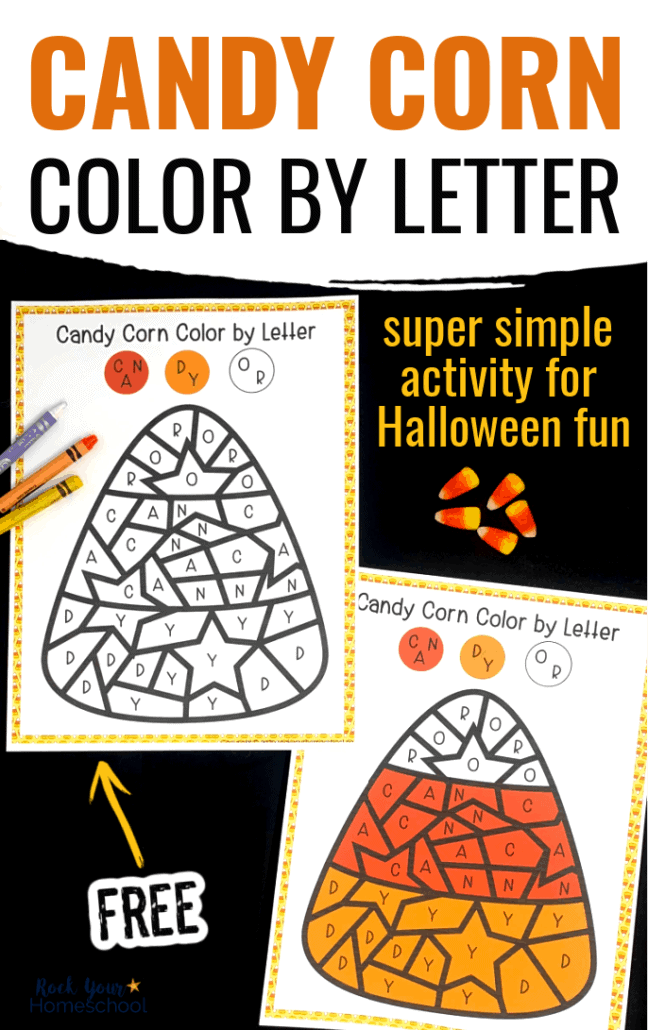 Free Candy Corn Color by Letter for Halloween Fun