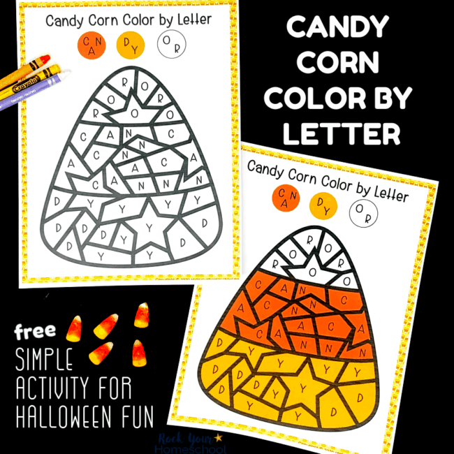 This free printable Candy Corn Color by Letter activity is perfect for Halloween fun for kids.