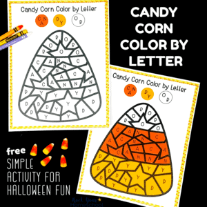 This free Candy Corn Color by Letter activity is perfect for Halloween fun for kids.