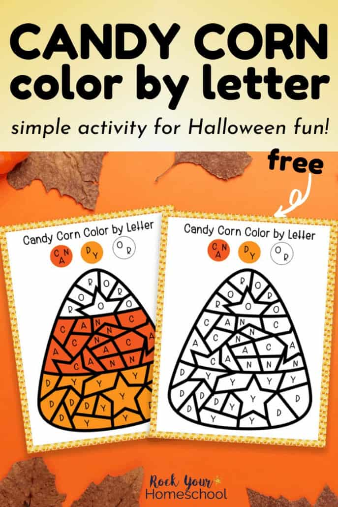 Candy corn color by letter page & answer sheet with leaves on orange background to feature the simple Halloween fun your kids can have with this free printable activity