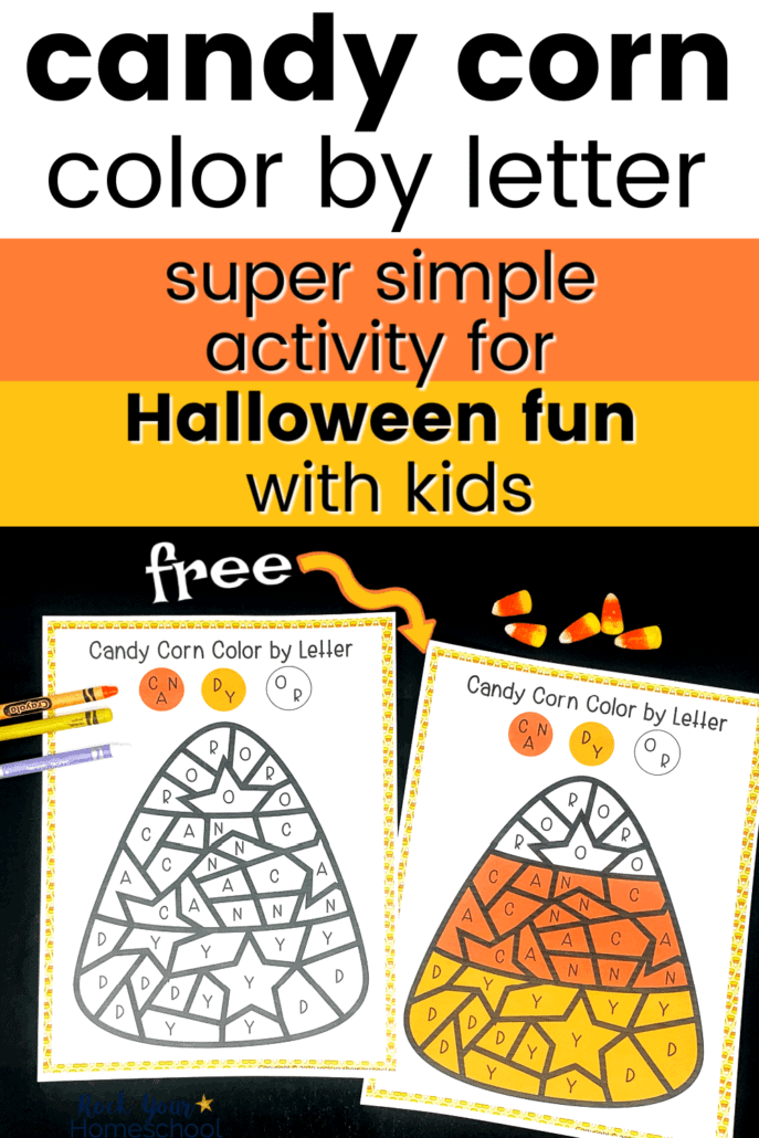 Candy corn color by letter page with answer sheet, crayons, & candy corn pieces to feature the simple Halloween fun you can have with this activity