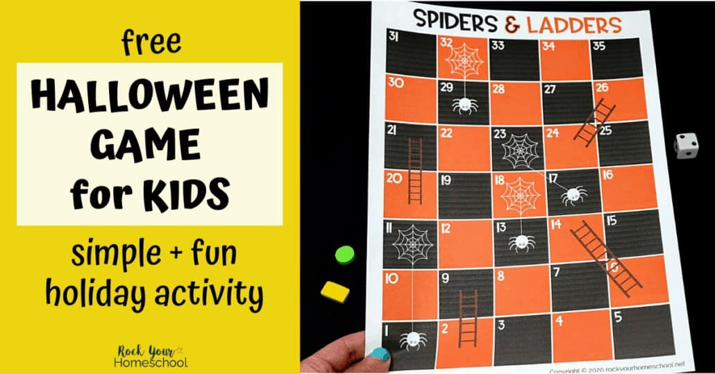 This Spiders and Ladders game is a super fun Halloween activity to enjoy with your kids.