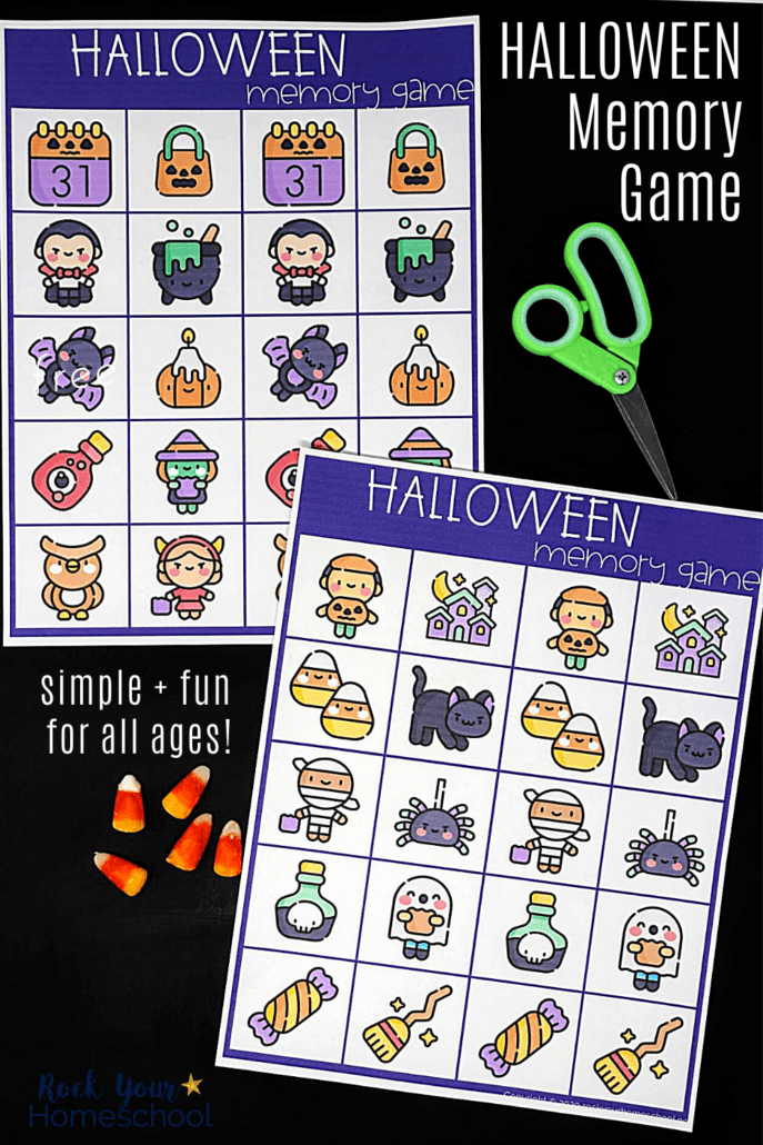 Halloween memory game for kids with green scissors & candy corn on black chalkboard to feature the simple yet super fun you can have with this free printable Halloween game for kids