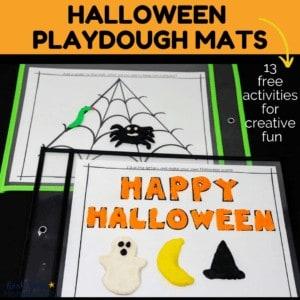 Enjoy creative hands-on fun with these free Halloween playdough mats.