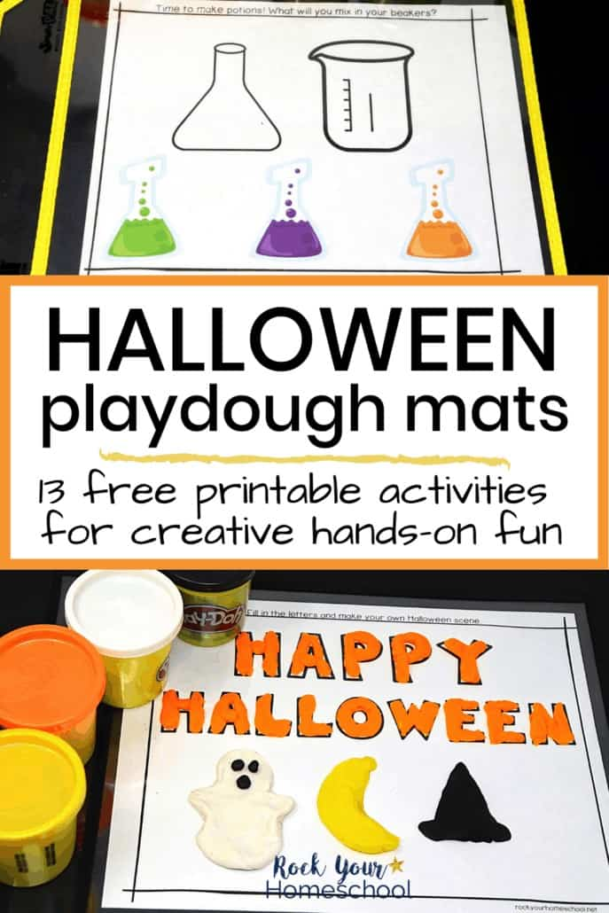 Halloween playdough mats with potions & HAPPY HALLOWEEN and playdough containers to feature the fantastic holiday fun your kids will have using these creative Halloween playdough mats
