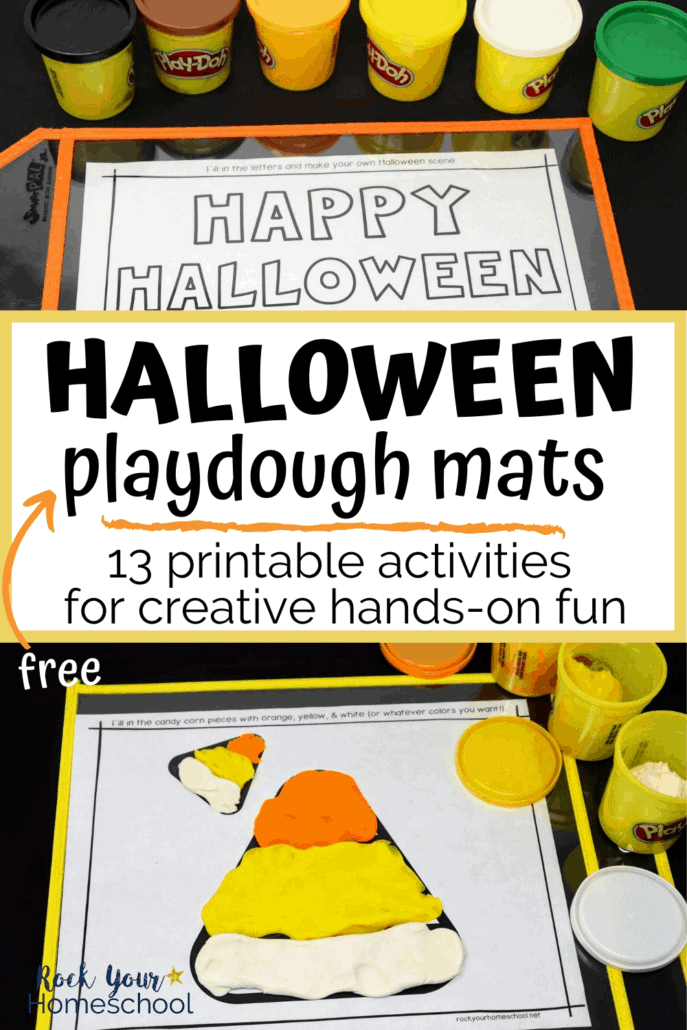 Halloween playdough mats of candy corn & holiday greeting and playdough containers to feature the creative hands-on fun your kids will have with these 13 free Halloween playdough mats