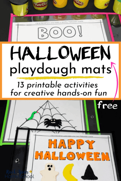 Halloween playdough mats featuring BOO!, spider web, & HAPPY HALLOWEEN themes with playdough containers & dry erase pockets to feature the creative hands-on fun your kids will have with these 13 Halloween playdough mats