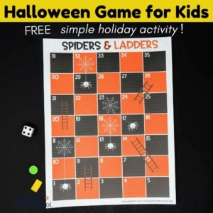 This free Spiders and Ladders game is a fun Halloween activity for kids.