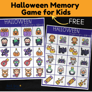 This free Halloween memory game is a simple yet fun holiday activity to enjoy with your kids.