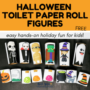 This free set of Halloween toilet paper roll figures is a fantastic way to encourage creative play & have easy holiday fun.