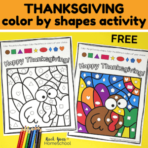 Enjoy a super simple & fun activity with your kids this holiday with this free Thanksgiving Color By Shapes printable.