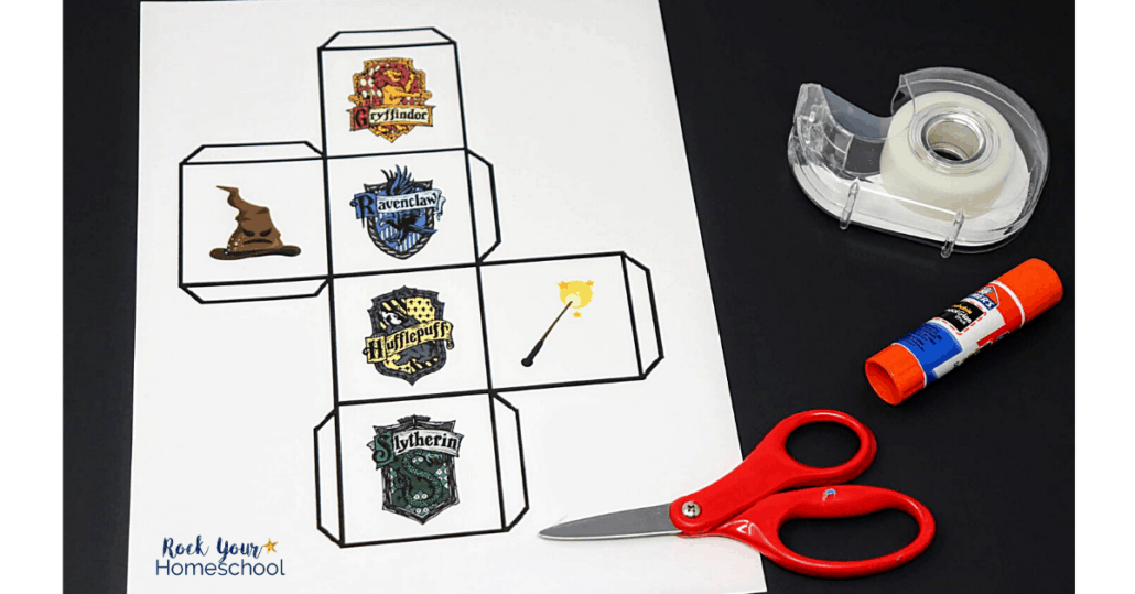 The custom die in this Hogwarts Sorting Game is easy to make & fun to use.