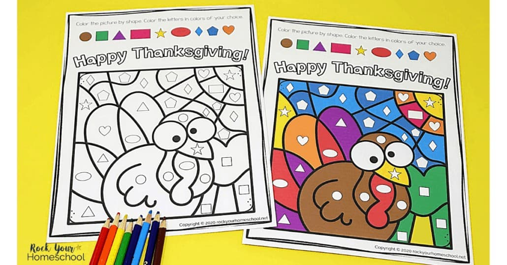 Enjoy a simple yet super fun Thanksgiving coloring activity with your kids using this Color By Shapes resource.